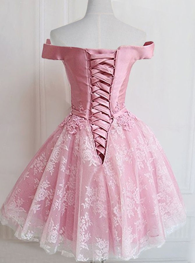 Ball Gown Off-the-Shoulder Short Pink Homecoming Dress With Appliques Sashes