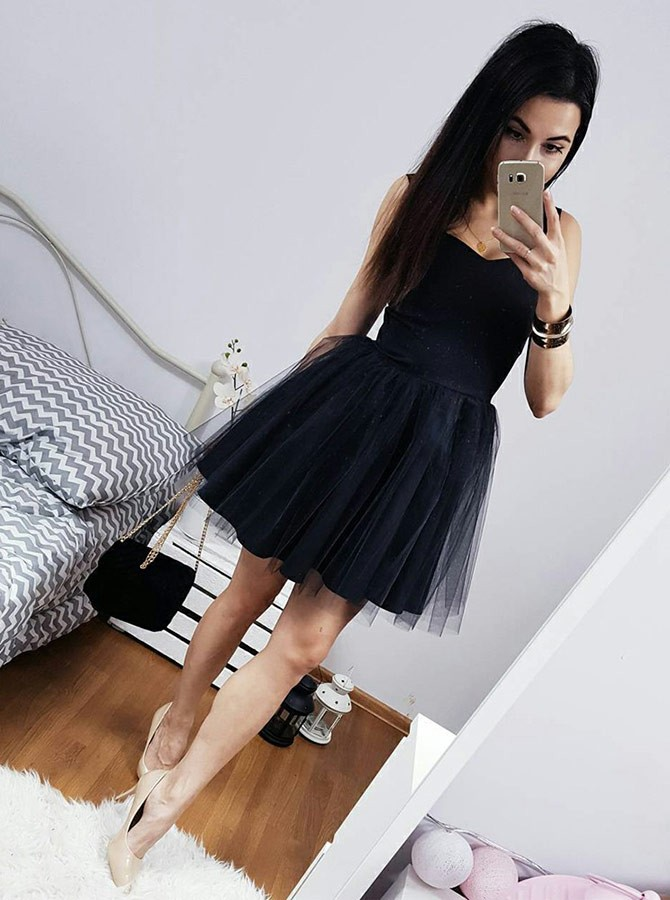 A-Line Straps Above-Knee Black Homecoming Dress with Pleats