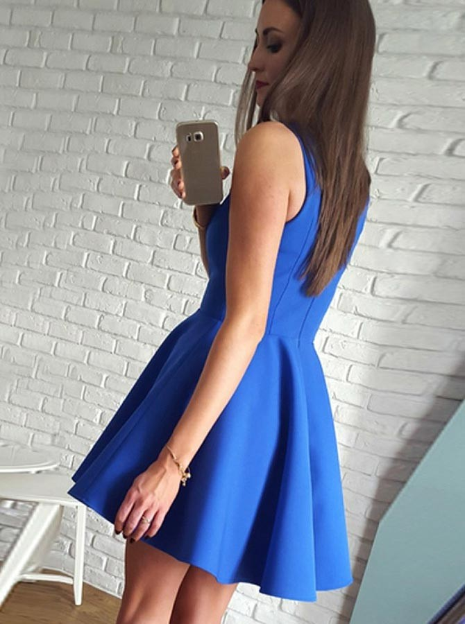 A-Line V-Neck Short Royal Blue Satin Homecoming Dress with Pleats