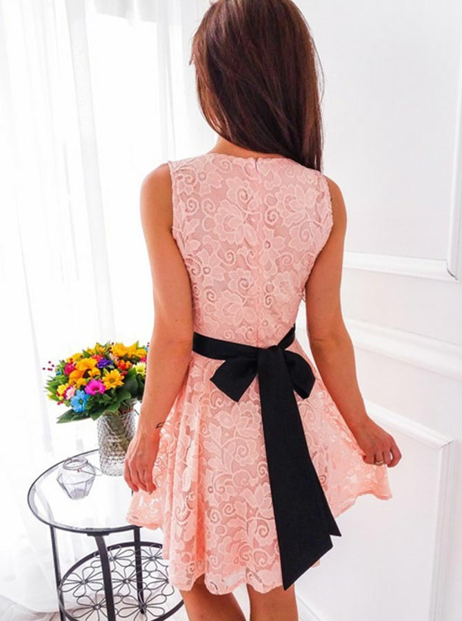 A-Line V-Neck Short Pink Lace Homecoming Dress with Sash