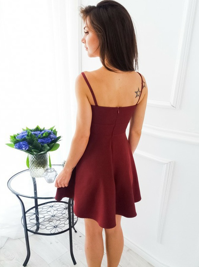A-Line Spaghetti Straps Short Burgundy Satin Homecoming Dress