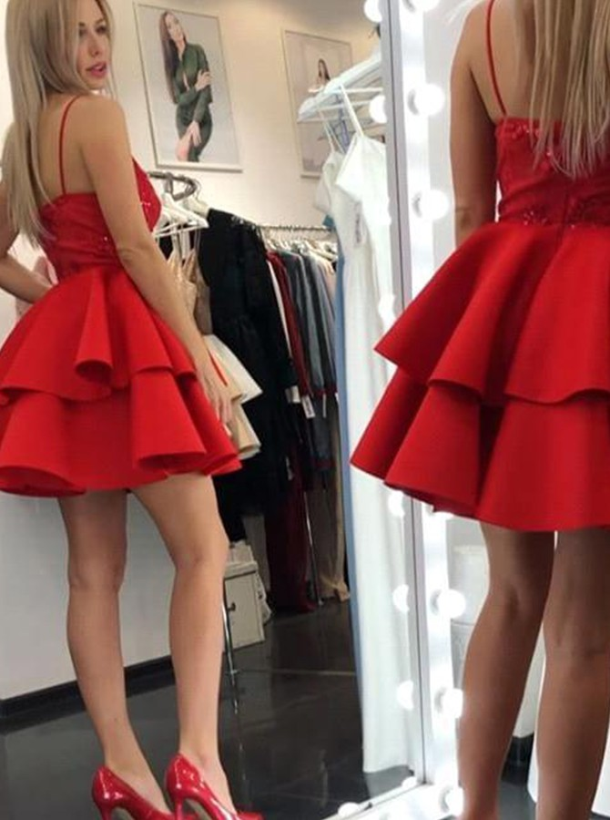A-Line Spaghetti Straps Short Red Tiered Homecoming Dress with Sequins
