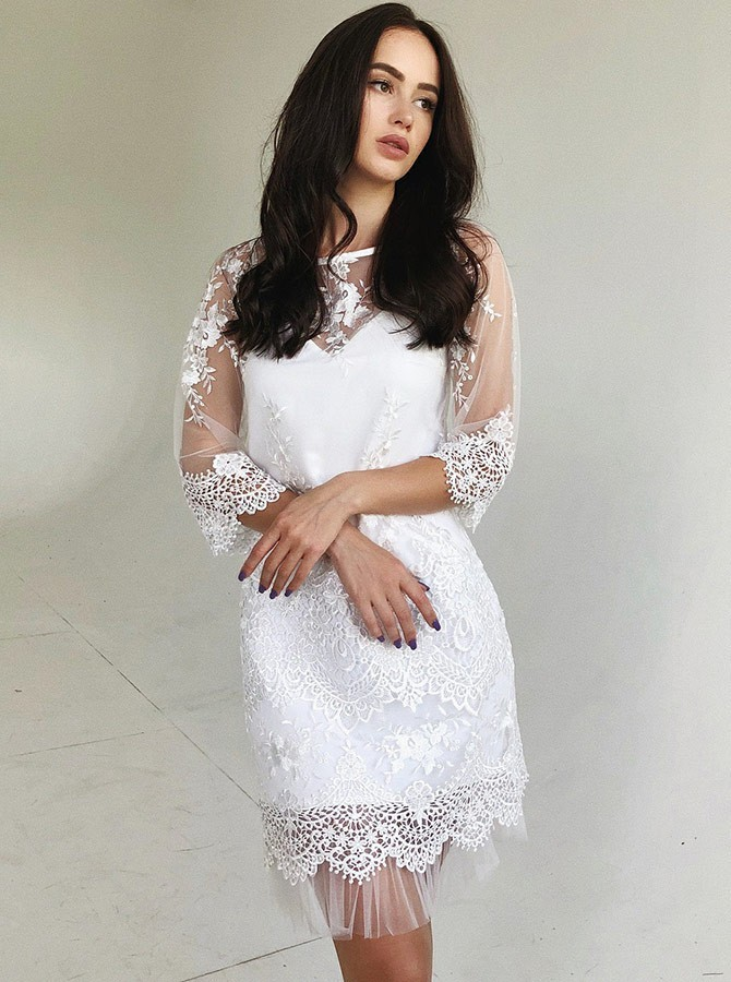 Sheath Bateau 3/4 Sleeves Above Knee White Homecoming Party Dress with Lace