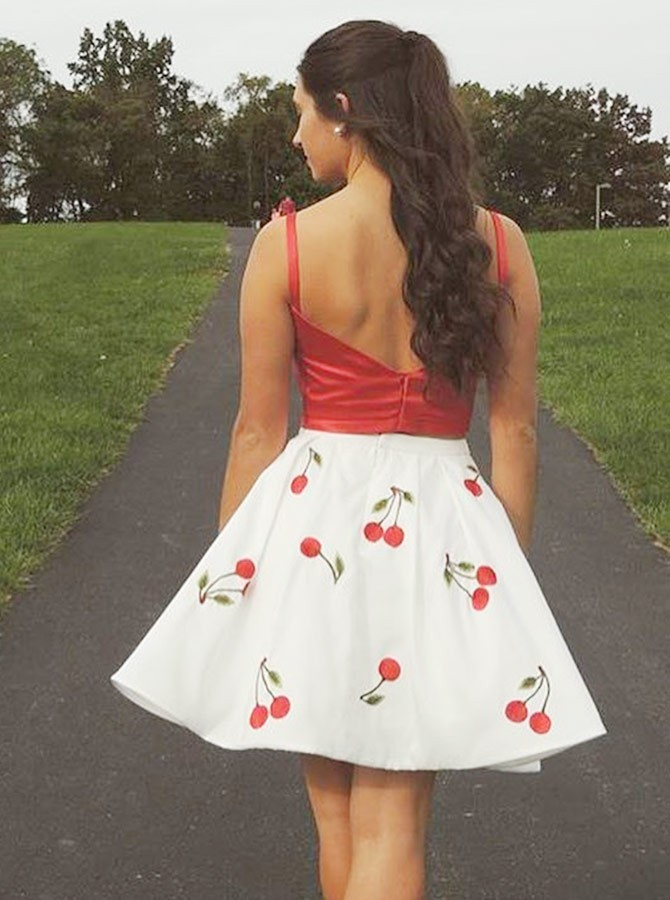 Two Piece Round Neck Short Red Printed Homecoming Dress
