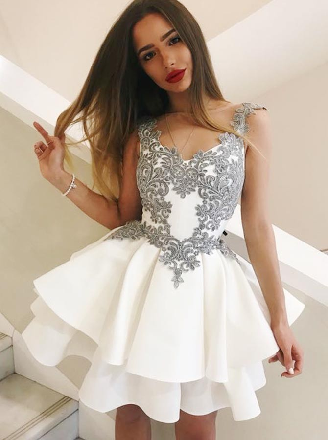 A-Line Round Neck Short White Tiered Homecoming Dress with Appliques