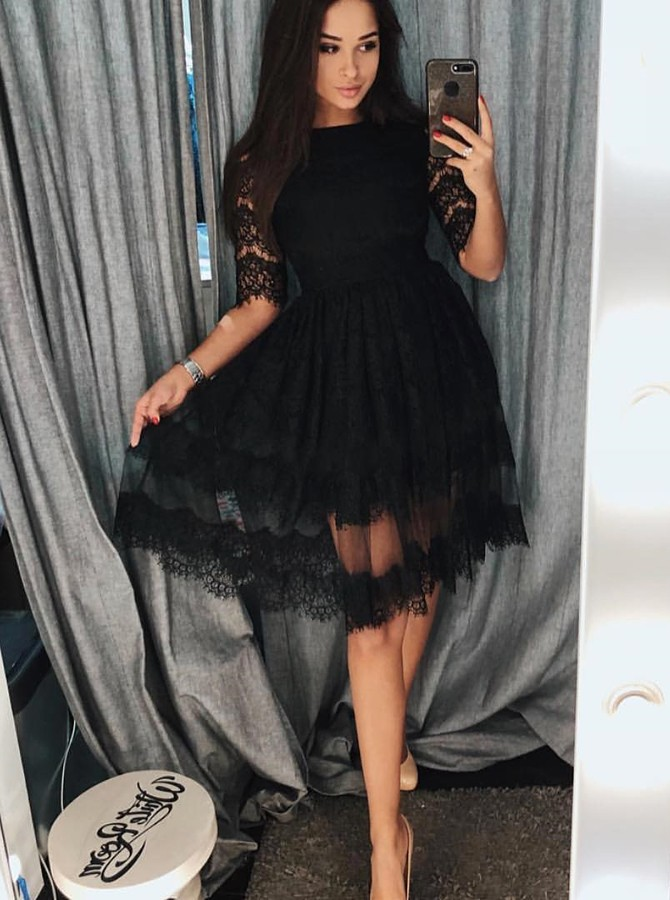 A-Line Crew Half Sleeves Knee-Length Black Homecoming Dress with Lace
