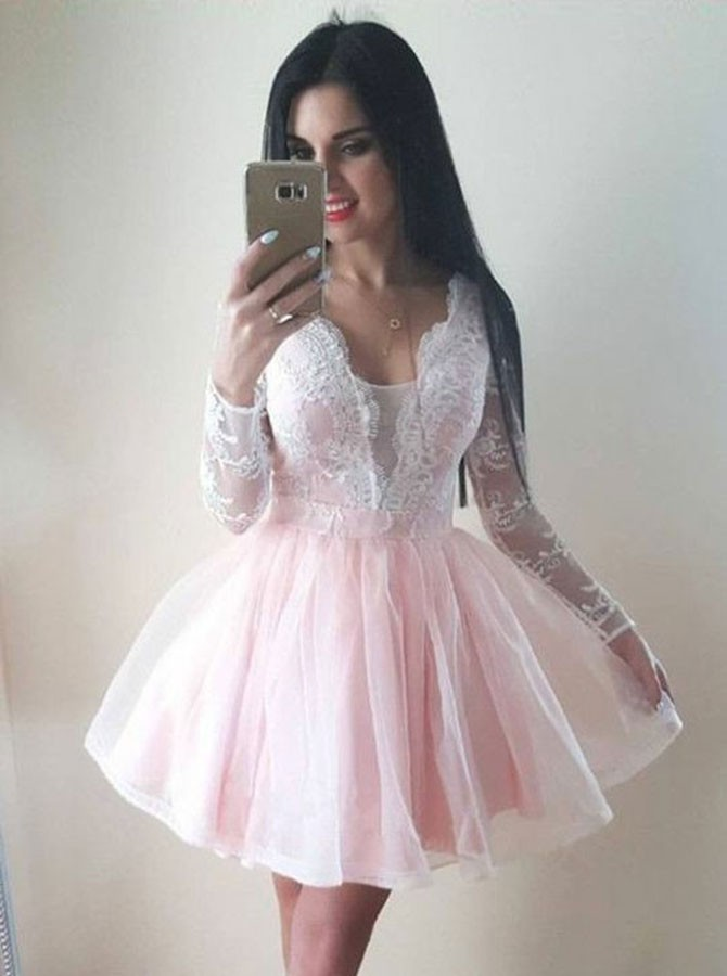 A-Line V-Neck Long Sleeves Short Pearl Pink Homecoming Dress with Appliques