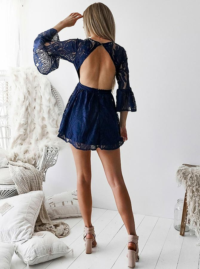 A-Line Round Neck Open Back Bell Sleeves Navy Blue Short Lace Homecoming Dress