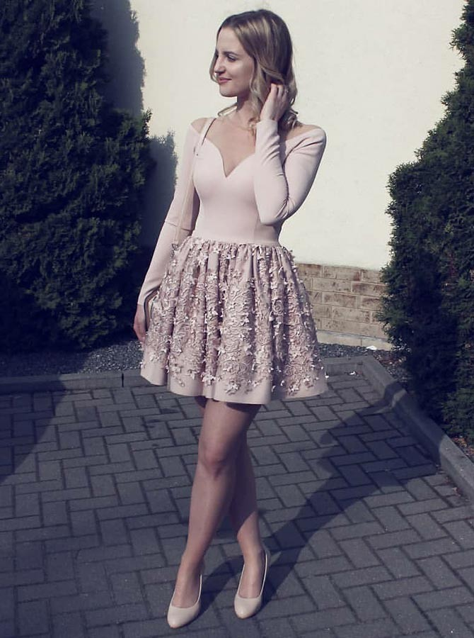 A-Line Crew Long Sleeves Short Pink Homecoming Dress with Appliques