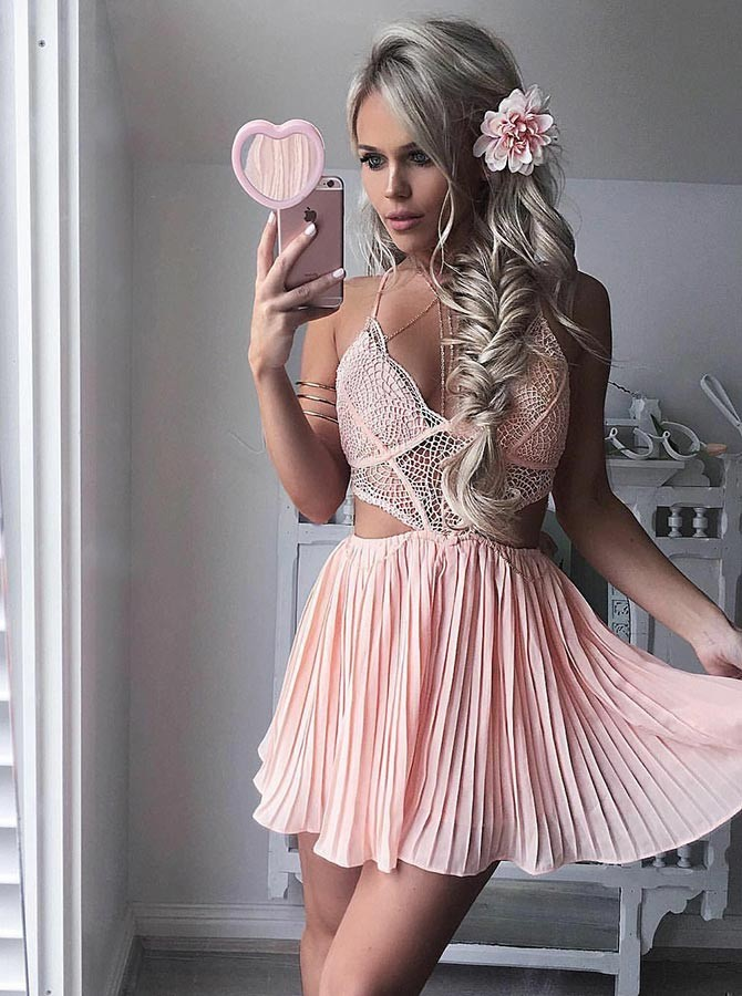A-Line V-Neck Criss-Cross Straps Short Pink Homecoming Dress with Lace Pleats