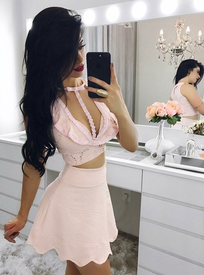 Two Piece Crew Short Pink Lace Homecoming Dress with Keyhole