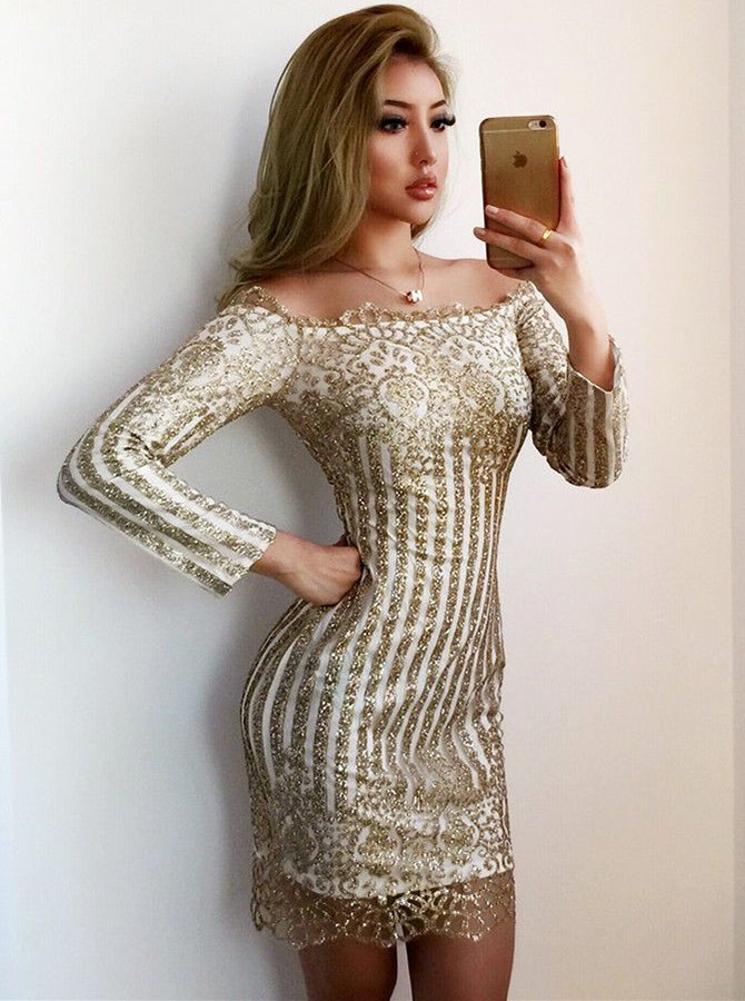 Sheath Off-the-Shoulder Long Sleeves Short Champagne Homecoming Cocktail Dress with Sequins