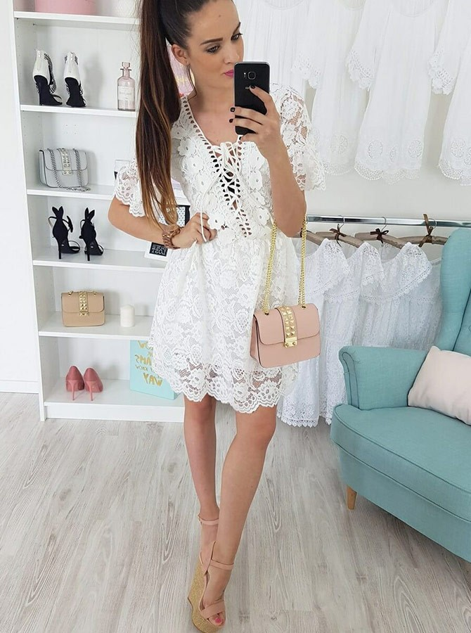 A-Line V-Neck Short Sleeves Above-Knee White Lace Homecoming Dress