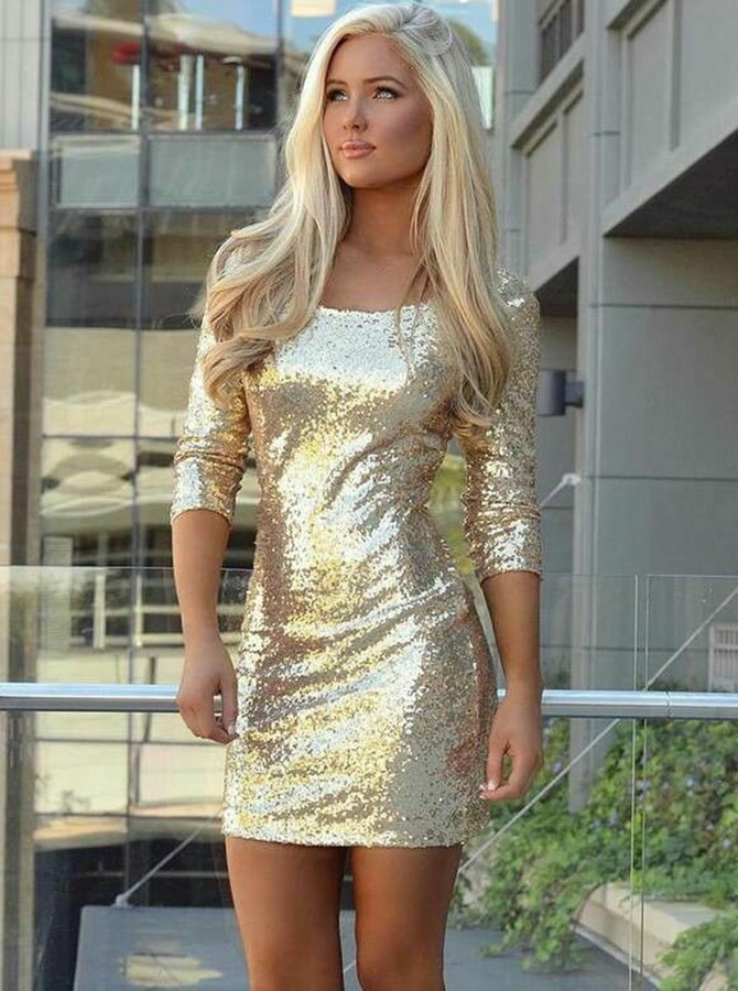 Sheath Round Neck 3/4 Sleeves Short Gold Sequined Homecoming Cocktail Dress