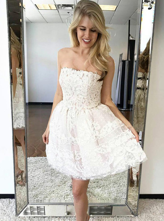 A-Line Strapless Above-Knee White Homecoming Dress with Appliques
