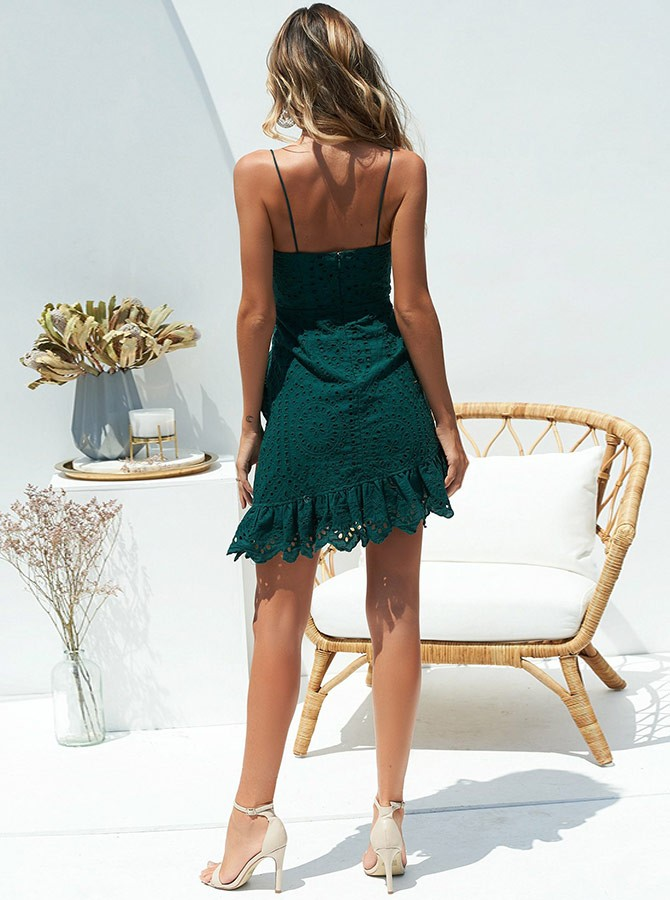 Sheath Spaghetti Straps Short Dark Green Homecoming Cocktail Dress with Ruffles