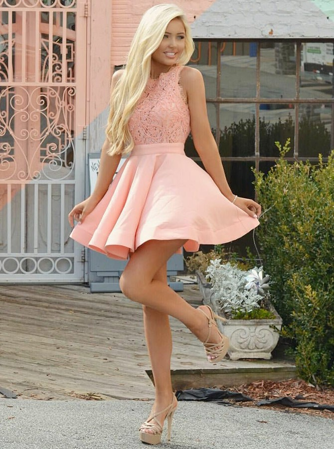 A-Line Crew Short Pink Satin Homecoming Dress with Lace Bodice