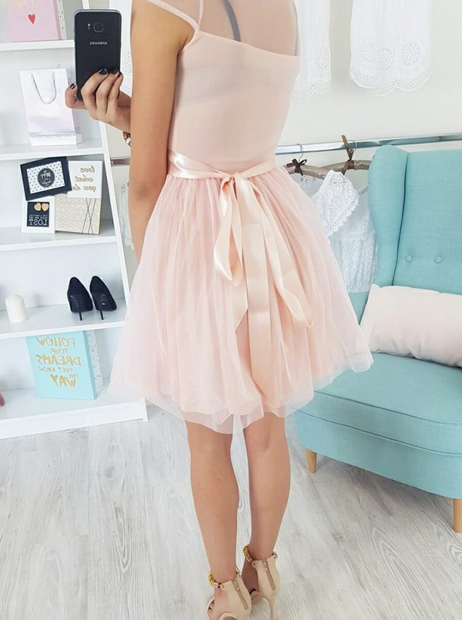 A-Line Crew Cap Sleeves Short Pink Homecoming Dress with Appliques Sash