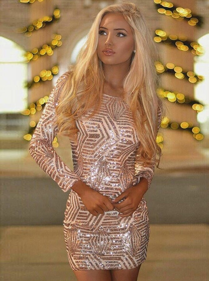 Sheath Round Neck Long Sleeves Short Pink Sequined Homecoming Cocktail Dress