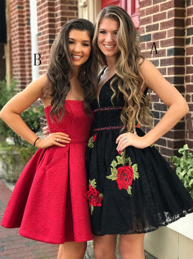 A-Line V-Neck Above-Knee Black Lace Beaded Prom Homecoming Dress with Appliques