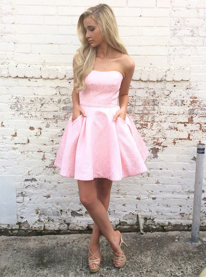 A-Line Strapless Short Pink Satin Printed Homecoming Dress with Pockets