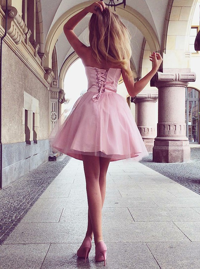 A-Line Sweetheart Lace Up Above-Knee Pink Pleated Homecoming Dress