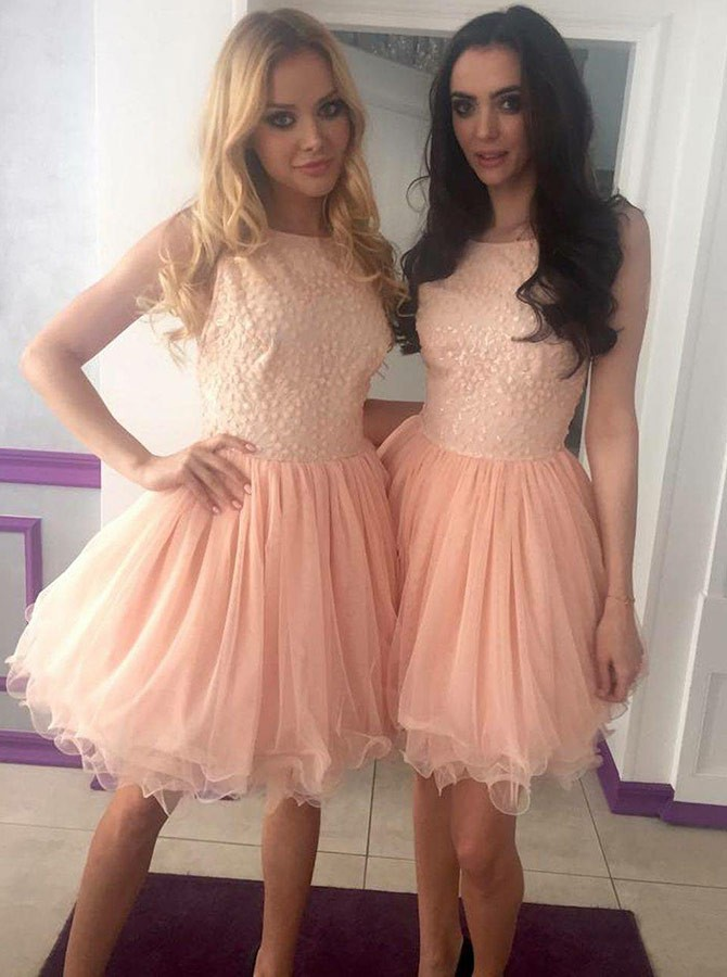 A-Line Crew Above-Knee Pink Pleated Homecoming Dress with Beading