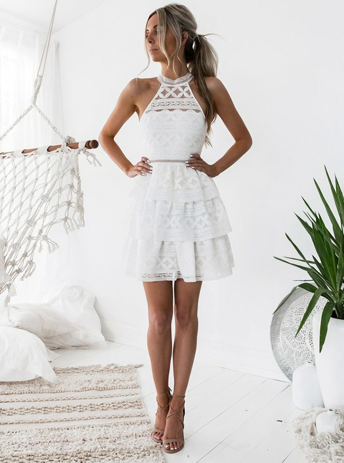 A-Line Jewel Above-Knee White Tiered Lace Homecoming Dress