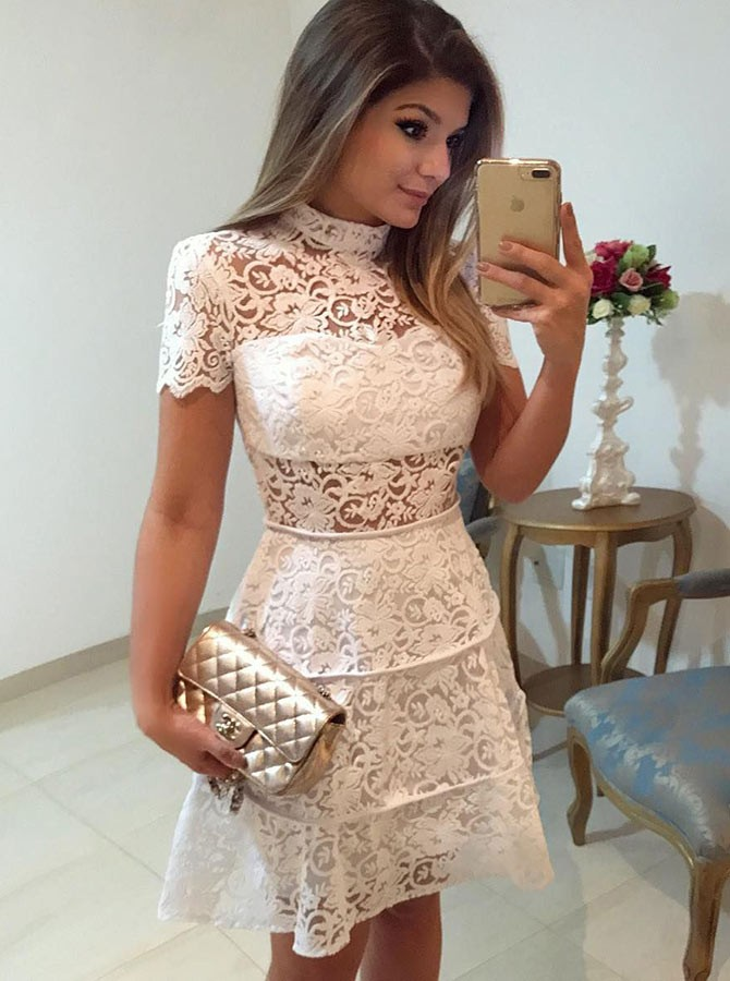 A-Line High Neck Short Sleeves Above-Knee White Lace Homecoming Dress