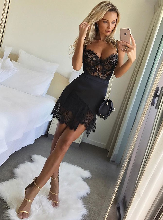 Sheath Spaghetti Straps Short Black Homecoming Cocktail Dress with Lace