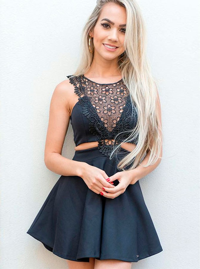 A-Line Crew Short Black Satin Homecoming Dress with Lace