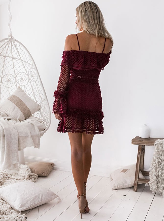 Sheath Spaghetti Straps Long Sleeves Short Burgundy Lace Homecoming Cocktail Dress with Ruffles
