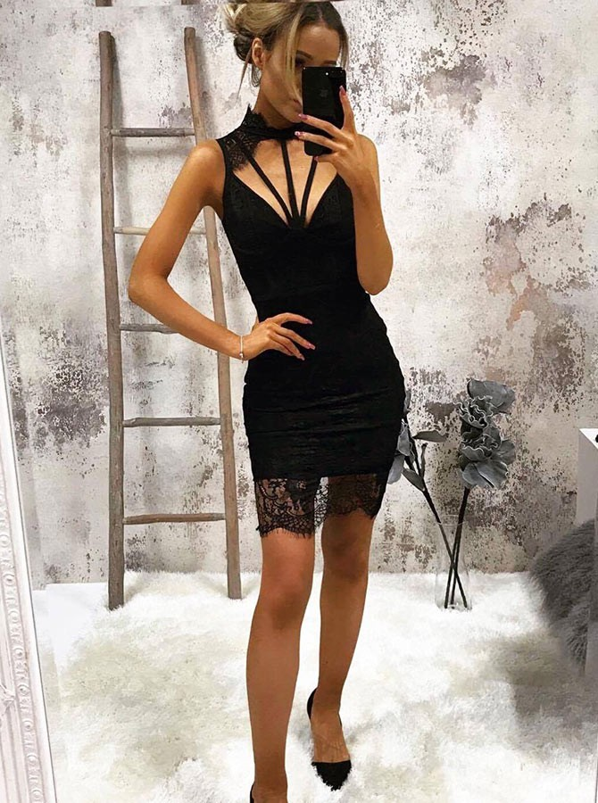 Sheath Jewel Open Back Above-Knee Black Lace Keyhole Homecoming Cocktail Dress