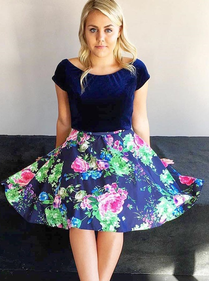A-Line Bateau Cap Sleeves Dark Blue Floral Homecoming Dress
