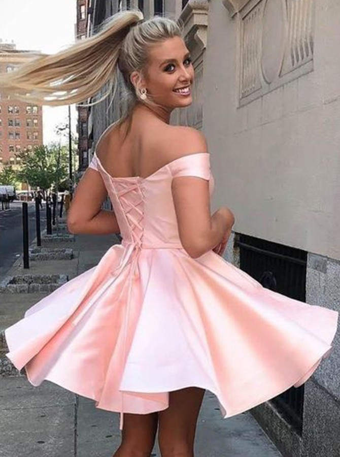 A-line Off the Shoulder Lilac Short Homecoming Dress Satin Party Dress