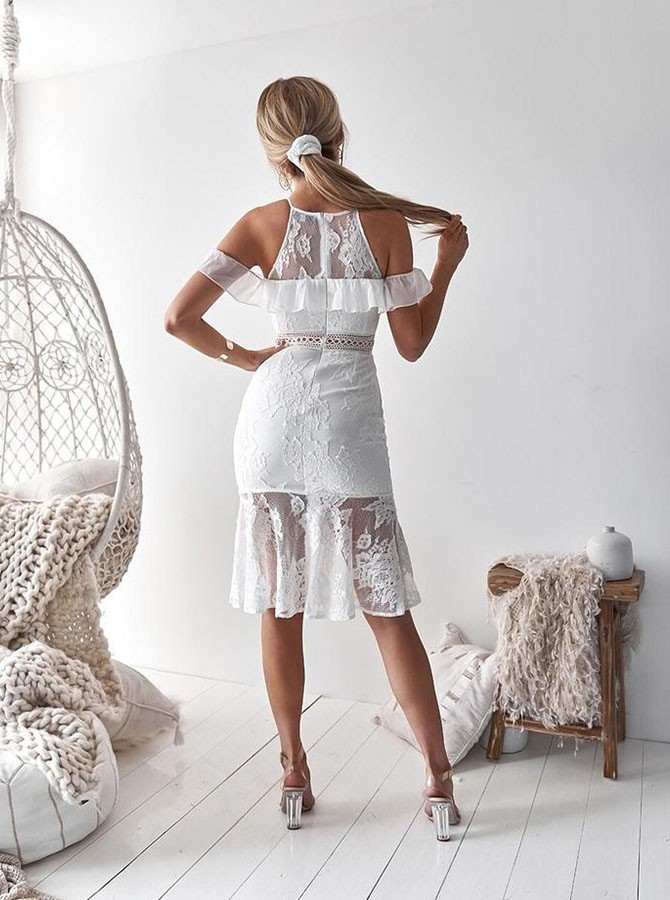 White Mermaid Jewel Knee-Length Lace Homecoming Dress