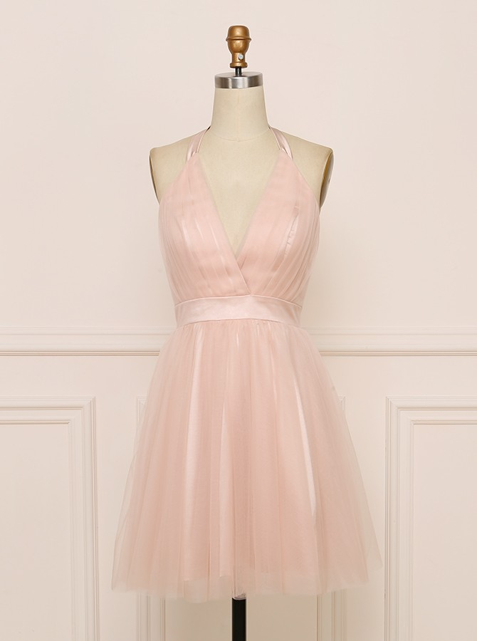 A-line Halter Backless Blush Homecoming Dress Simple Party Dress