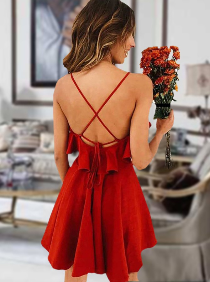 Spaghetti Straps Short Red Homecoming Dress A-Line  Simple Party Dress
