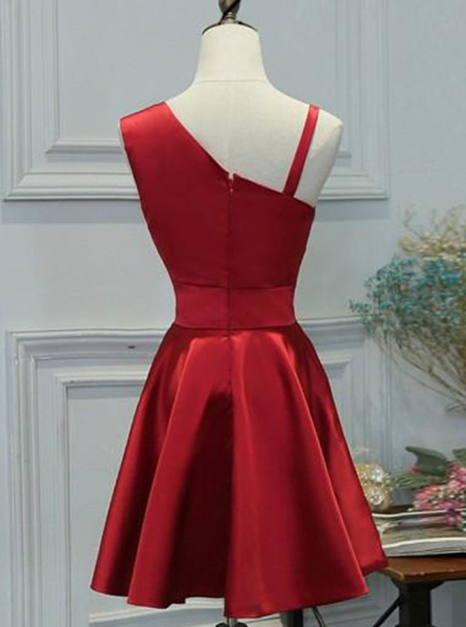 Red A-line Above-knee Satin Homecoming Dress