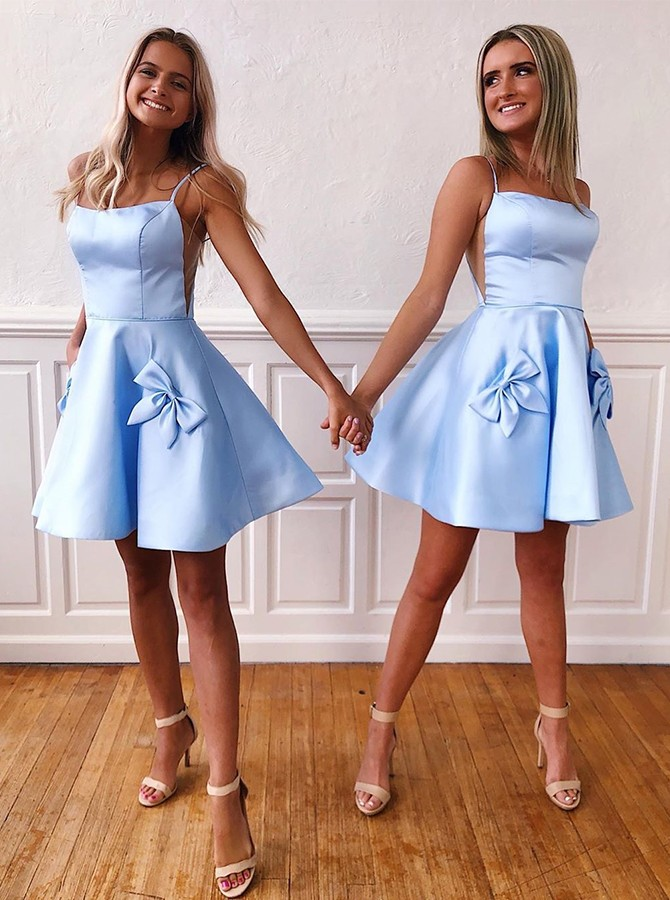 A-Line Spaghetti Straps Blue Short Homecoming Dress Pockets Bowknot