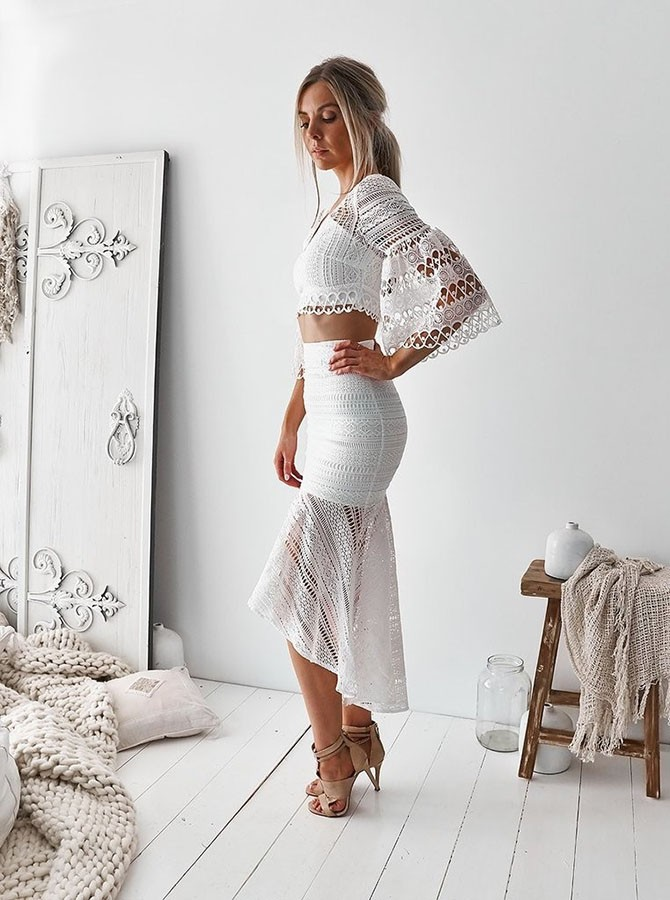 Sheath Two Piece V-Neck Half Sleeves White Lace Asymmetrical Homecoming Dress