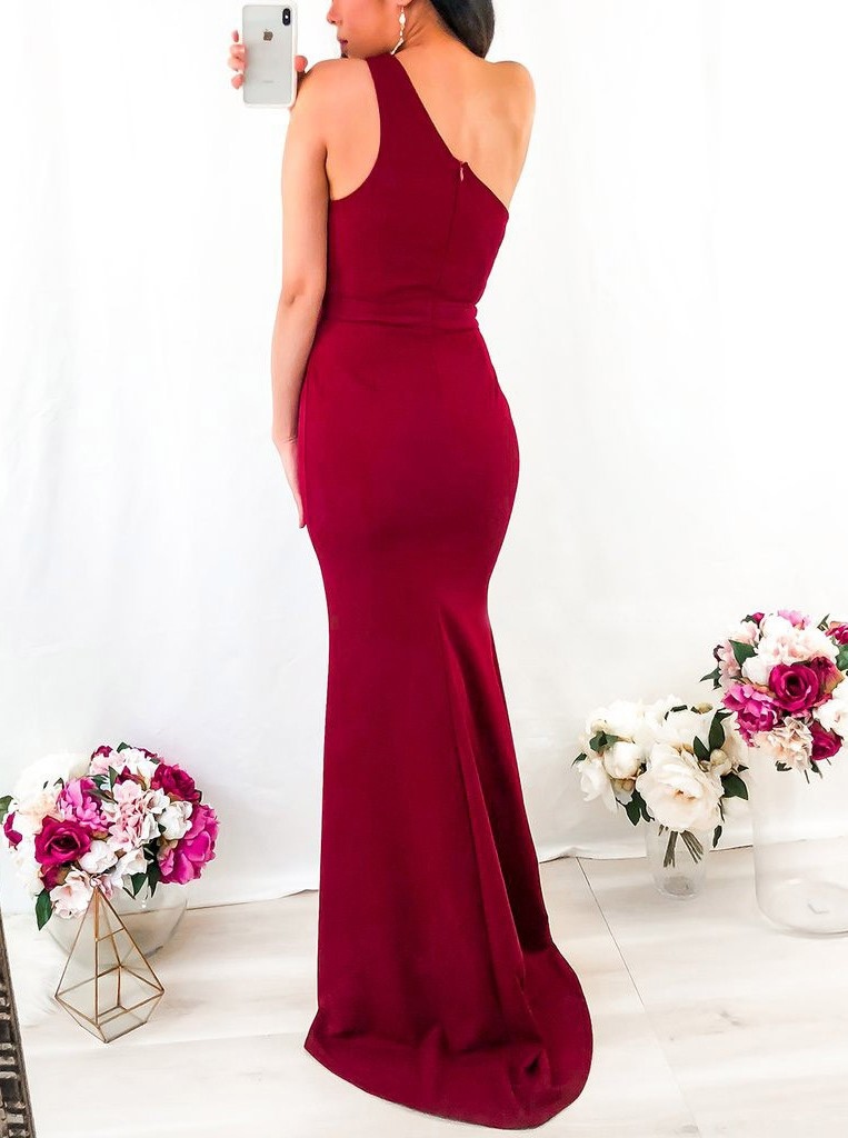 Mermaid One Shoulder Floor Length Satin Red Prom Dress