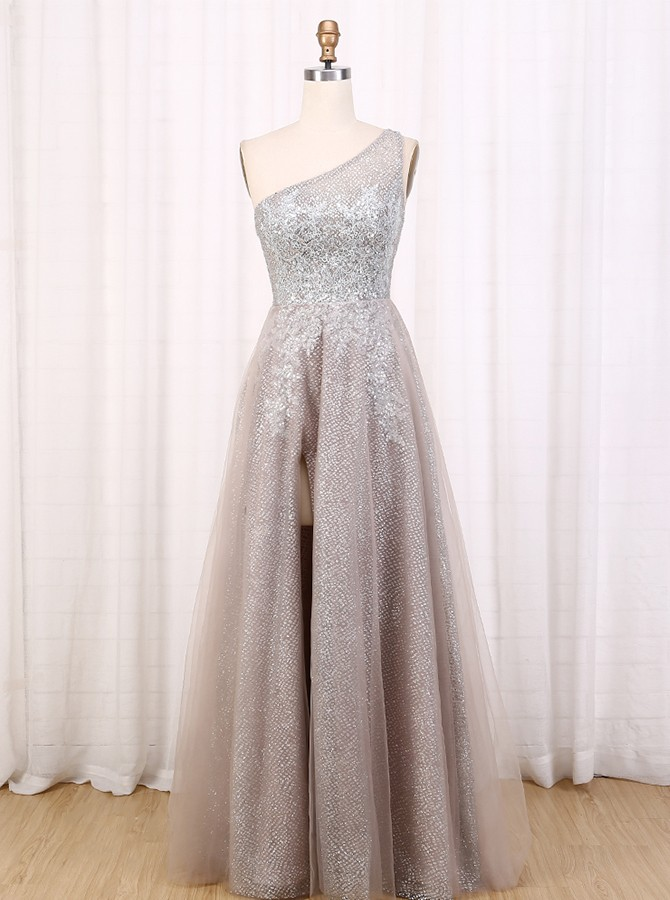 A-Line One-Shoulder Long Grey Prom Dress Glitter Evening Dress