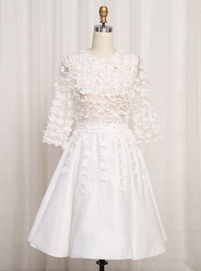 A-Line Jewel 3/4 Sleeves White Satin Homecoming Dress with Appliques