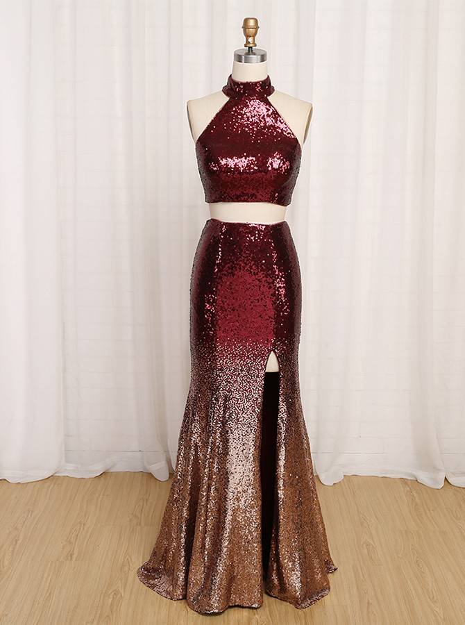Two Piece Halter Backless Long Ombre Sequined Prom Dress with Split
