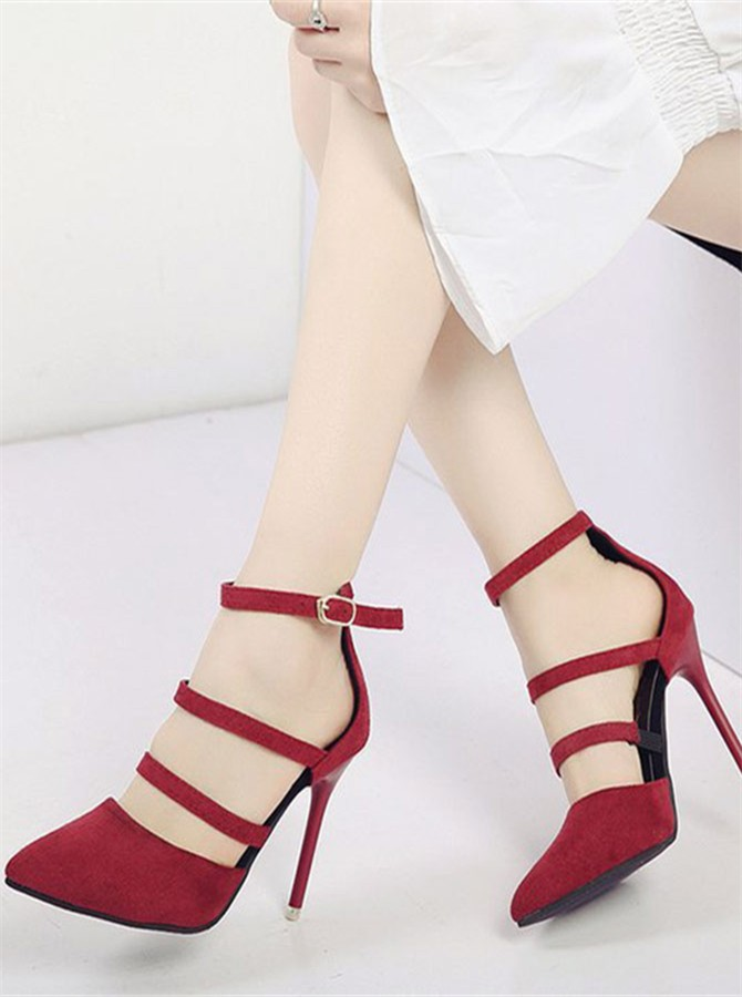 Burgundy Ankle Straps Stiletto Heels