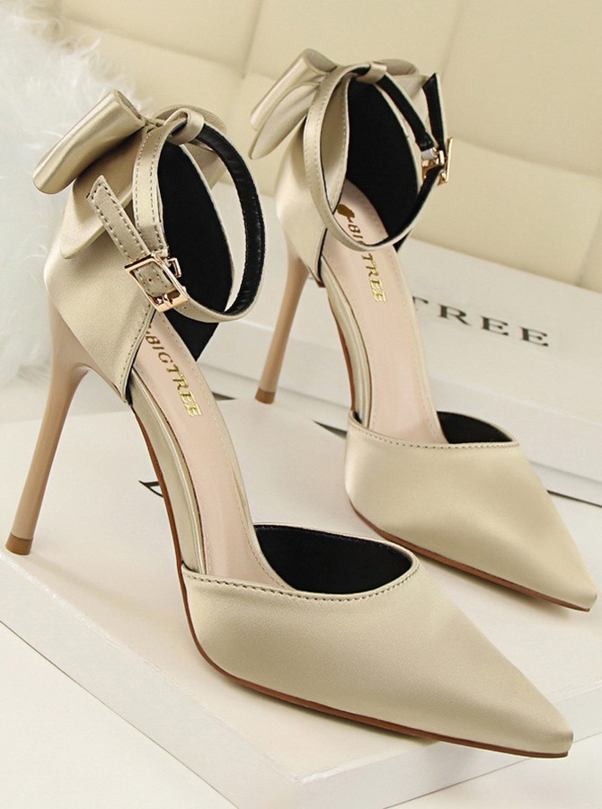 Red Ankle Straps Stiletto Heels with Bowknot