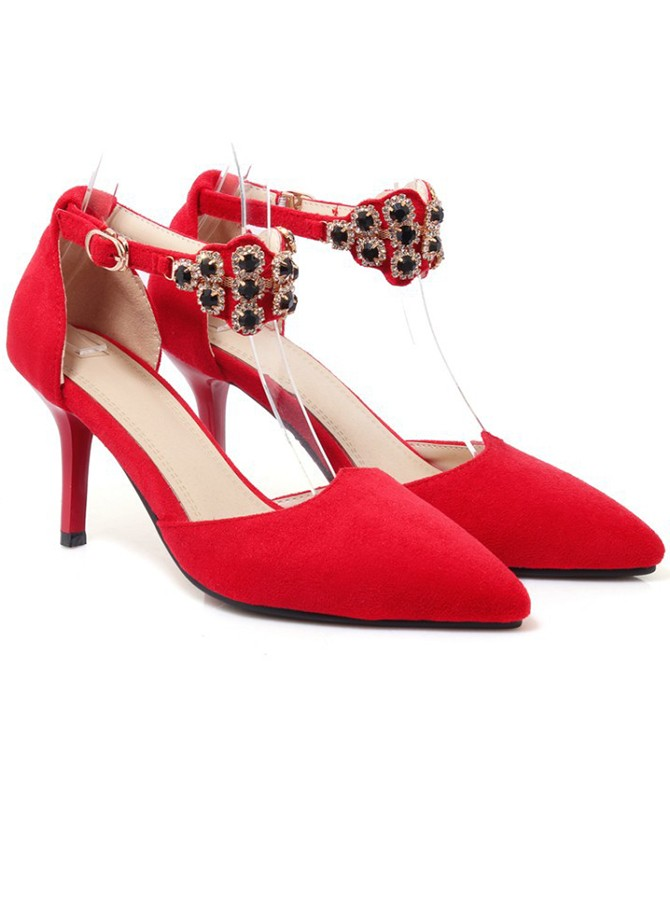 Red Ankle Straps Kitten Heels with Beading