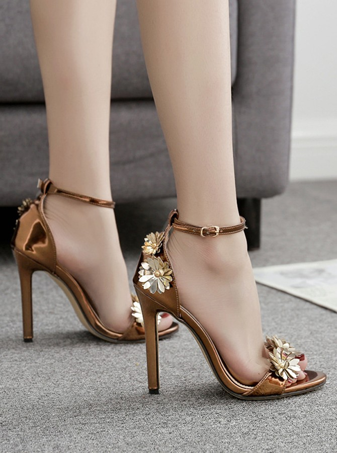 Metal Ankle Straps Stiletto Heels Sandals