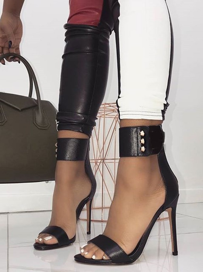 Black Ankle Straps Rivet Stiletto Heels